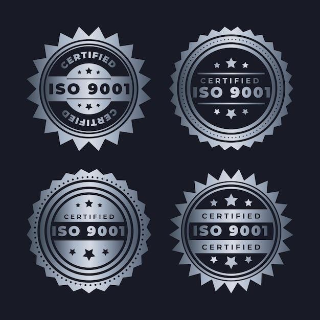 Conjunto de emblemas de certificação iso Vetor Premium