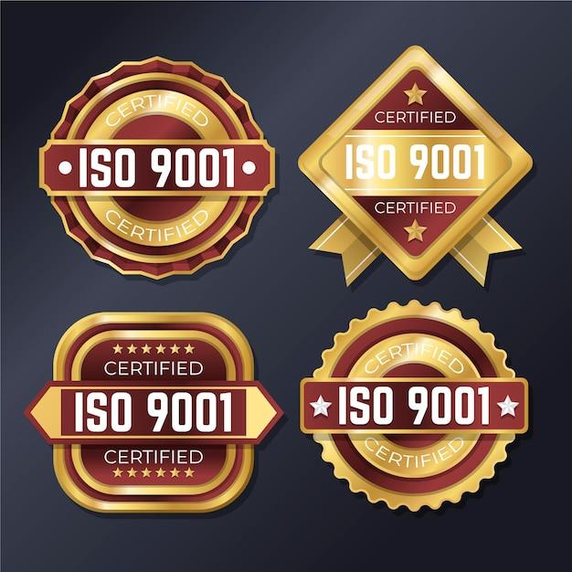 Conjunto de emblemas de certificação iso Vetor grátis