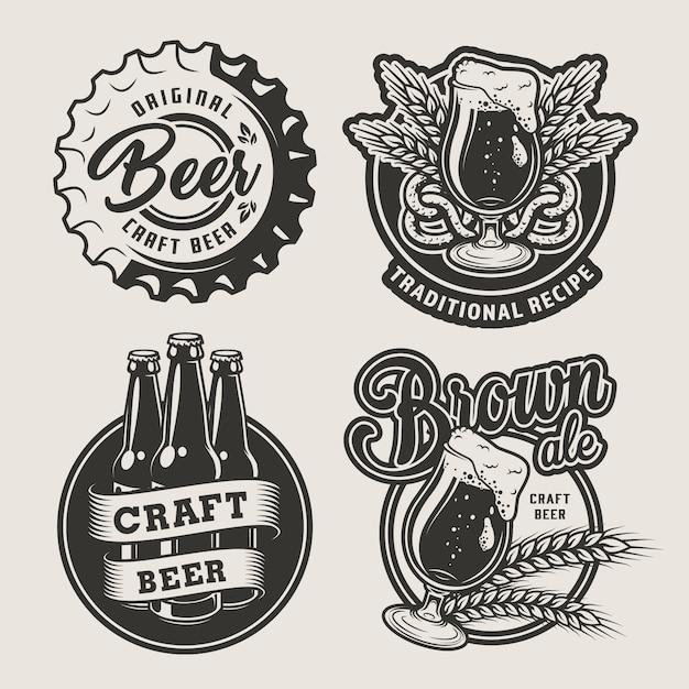 Conjunto de emblemas de cerveja vintage Vetor grátis