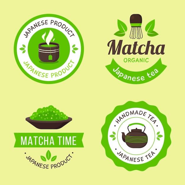 Conjunto de emblemas de chá matcha verde Vetor grátis