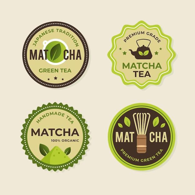 Conjunto de emblemas de chá matcha Vetor Premium