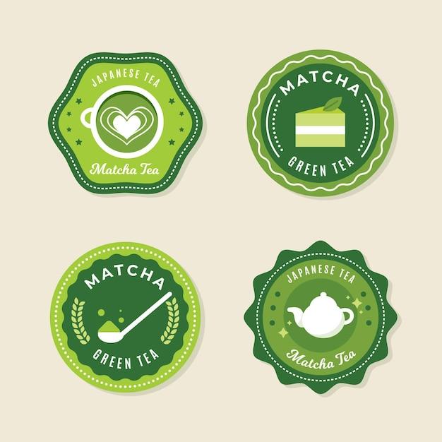 Conjunto de emblemas de chá matcha Vetor grátis