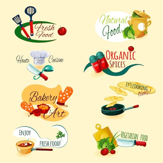 Conjunto de emblemas de cozinha Vetor grátis