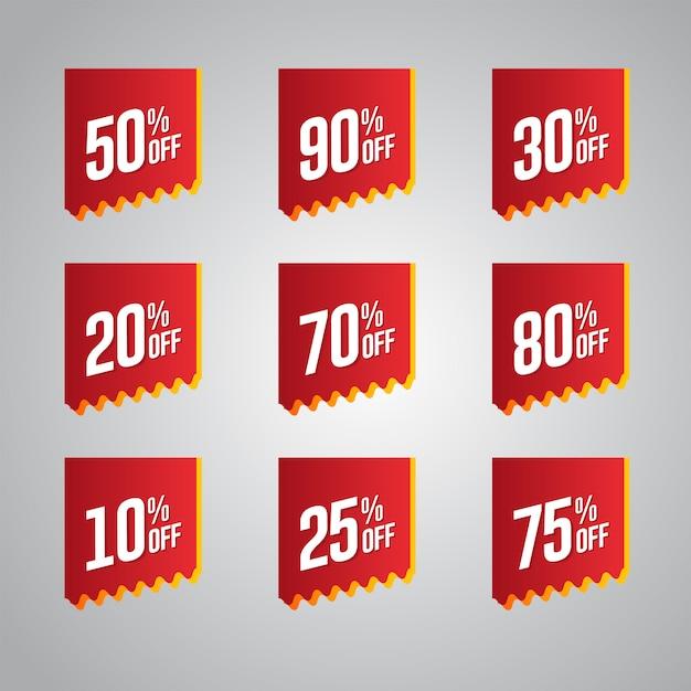 Conjunto de emblemas de desconto Vetor Premium