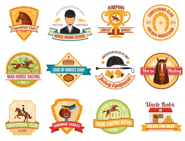 Conjunto de emblemas de desporto de cavalo Vetor grátis