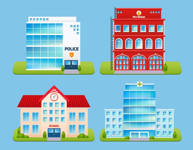 Conjunto de emblemas de edifícios Vetor grátis