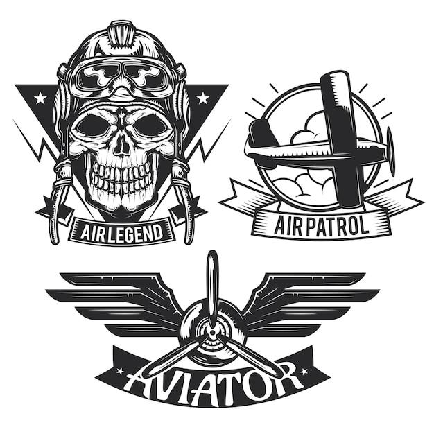 Conjunto de emblemas de elementos de aeronaves, etiquetas, emblemas, logotipos. Vetor grátis