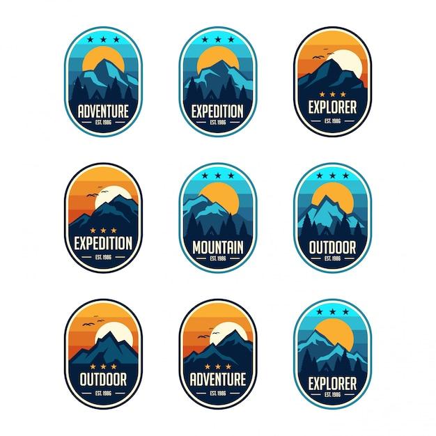 Conjunto de emblemas de emblemas de viagens vintage clássico nove montanha Vetor Premium