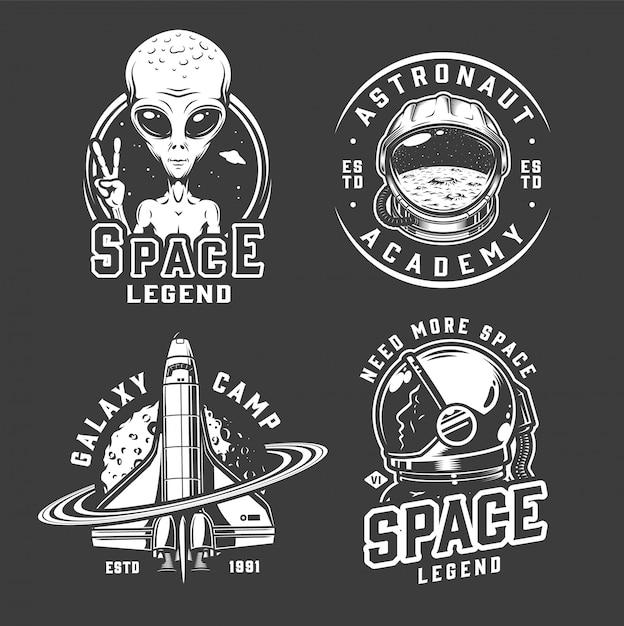 Conjunto de emblemas de espaço e galáxia Vetor grátis