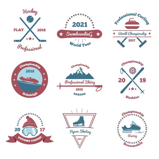 Conjunto de emblemas de esportes de inverno Vetor grátis