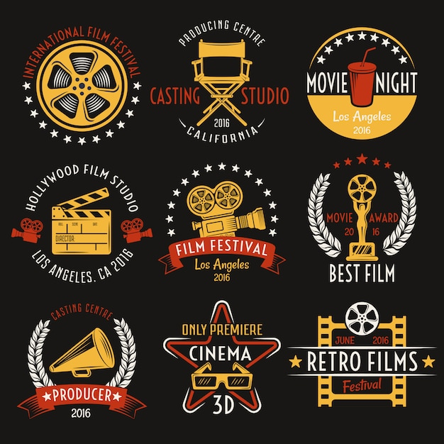 Conjunto de emblemas de estilo retro cinema Vetor grátis