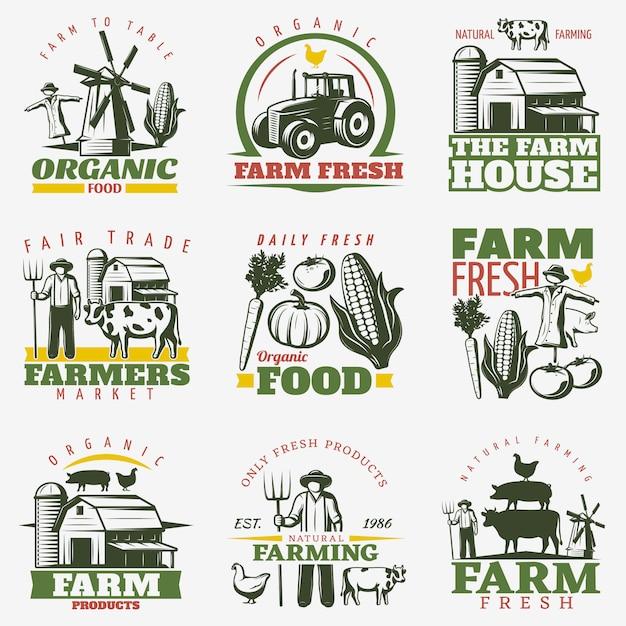 Conjunto de emblemas de fazenda colorida Vetor grátis