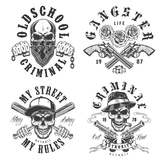 Conjunto de emblemas de gangster Vetor grátis