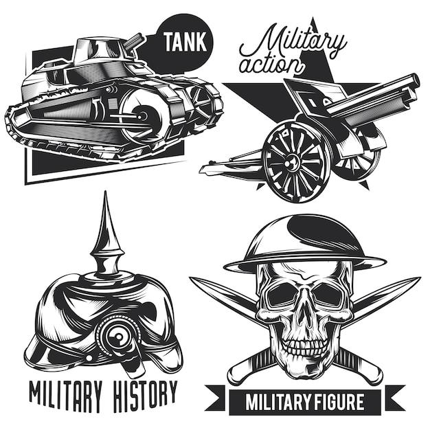 Conjunto de emblemas de guerra, etiquetas, emblemas, logotipos. isolado no branco Vetor grátis