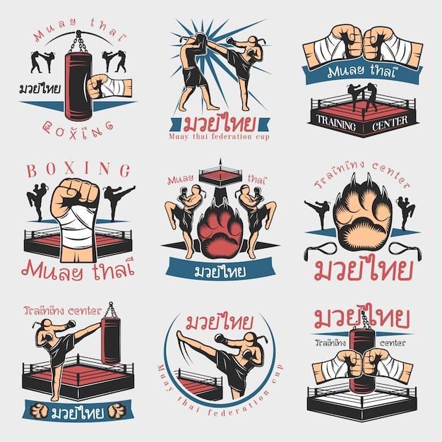 Conjunto de emblemas de kickboxing colorido Vetor grátis