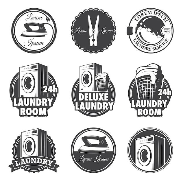 Conjunto de emblemas de lavanderia vintage, etiquetas e elementos desenhados. Vetor grátis