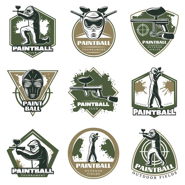 Conjunto de emblemas de lazer ativo vintage colorido Vetor grátis