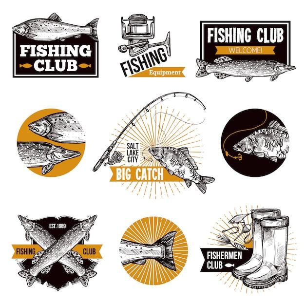 Conjunto de emblemas de logotipo de pesca Vetor grátis