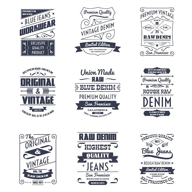 Conjunto de emblemas de logotipo de tipografia de jeans Vetor grátis