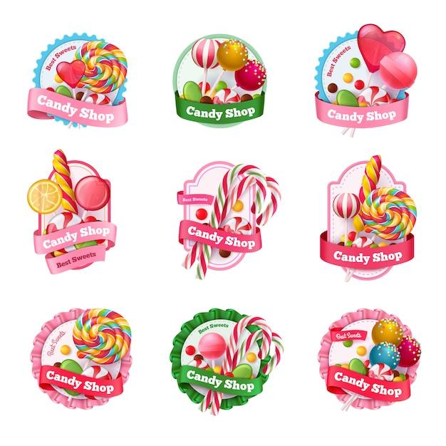 Conjunto de emblemas de loja de doces Vetor grátis