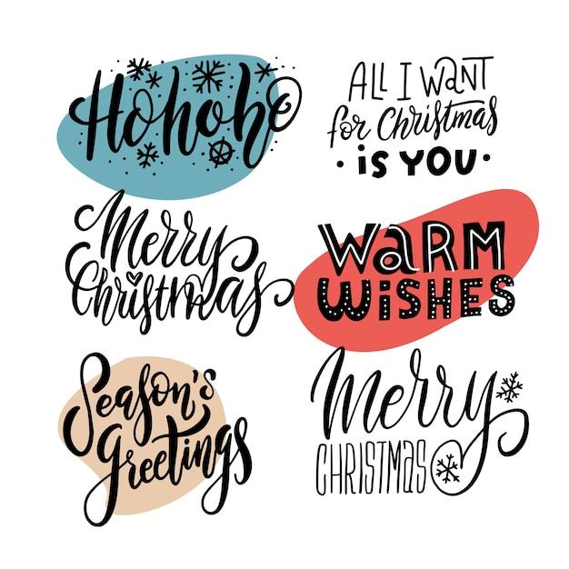 Conjunto de emblemas de mão desenhada de natal. letras de feliz natal para folheto, panfleto, convite de publicidade. Vetor Premium