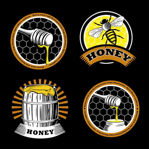 Conjunto de emblemas de mel vintage. Vetor Premium