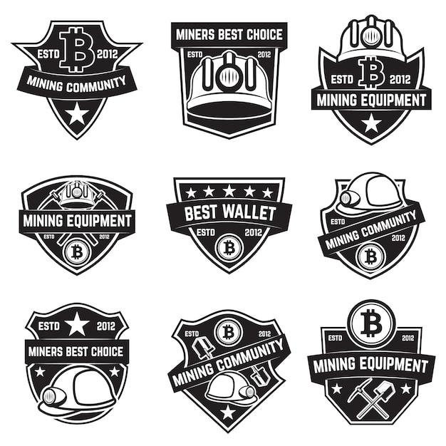 Conjunto de emblemas de mineração de criptomoeda no fundo branco. elementos para o logotipo, etiqueta, emblema, sinal. ilustração Vetor Premium