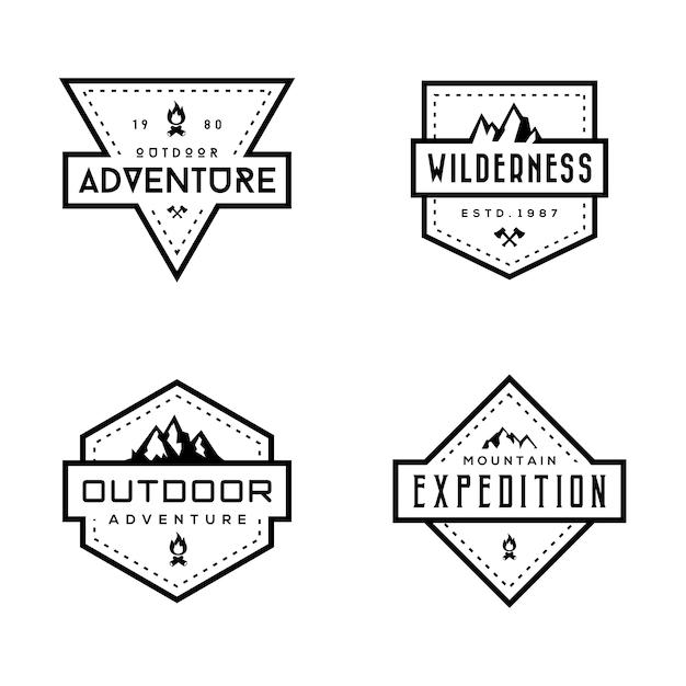 Conjunto de emblemas de montanha Vetor Premium