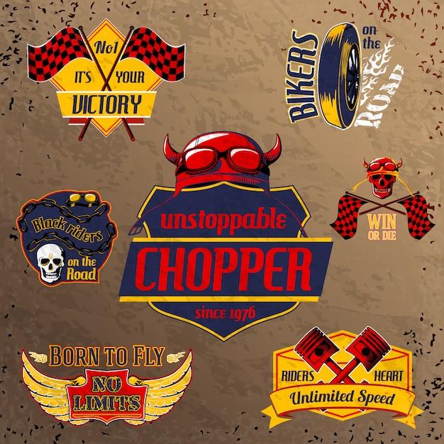 Conjunto de emblemas de moto moto Vetor grátis
