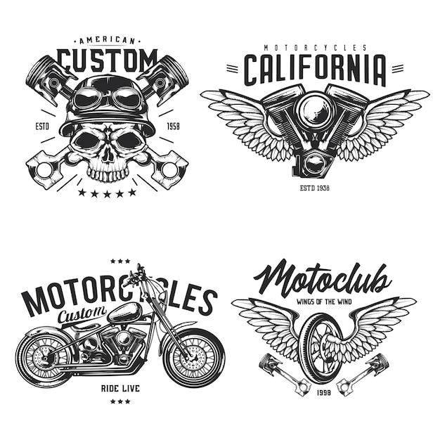Conjunto de emblemas de motociclista e motocicleta, etiquetas, emblemas, logotipos. isolado no branco Vetor grátis