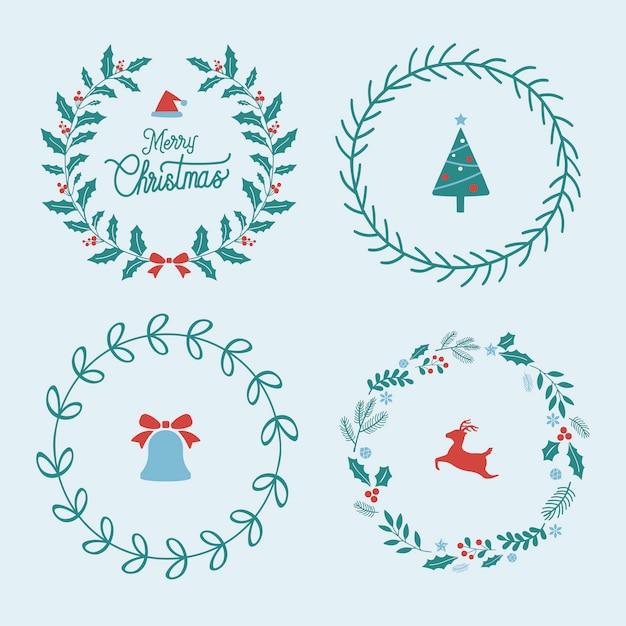 Conjunto de emblemas de natal Vetor grátis