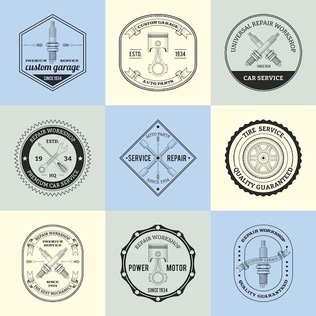 Conjunto de emblemas de oficina de reparação Vetor grátis