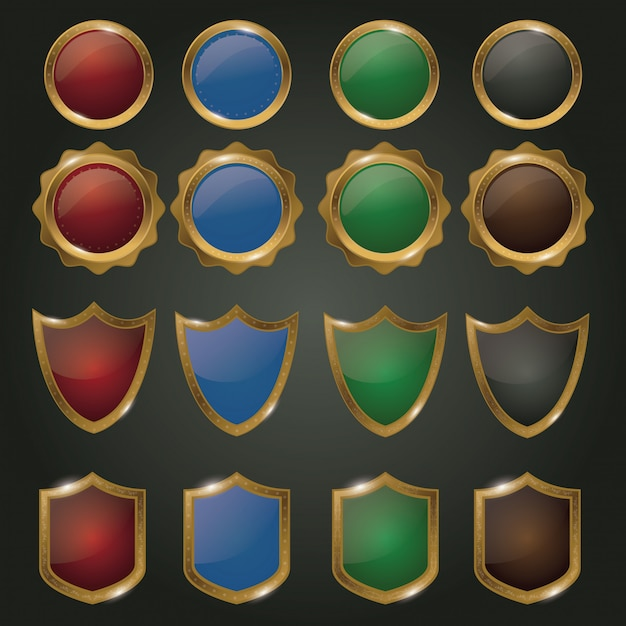 Conjunto de emblemas de ouro Vetor Premium