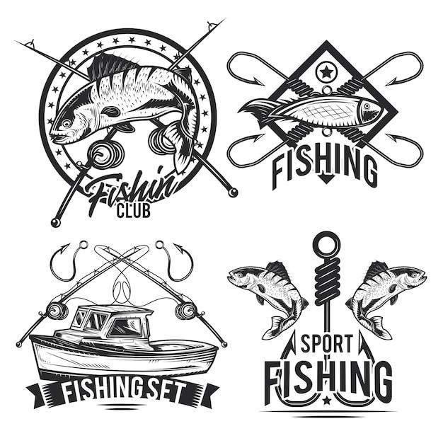 Conjunto de emblemas de pesca, etiquetas, emblemas, logotipos. Vetor grátis