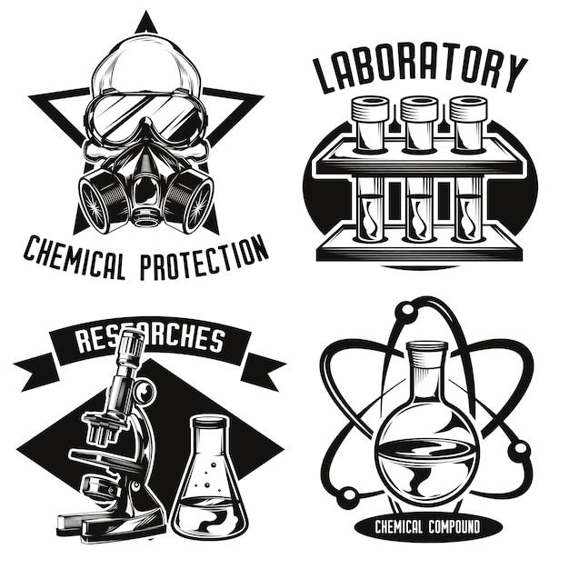 Conjunto de emblemas de química Vetor grátis