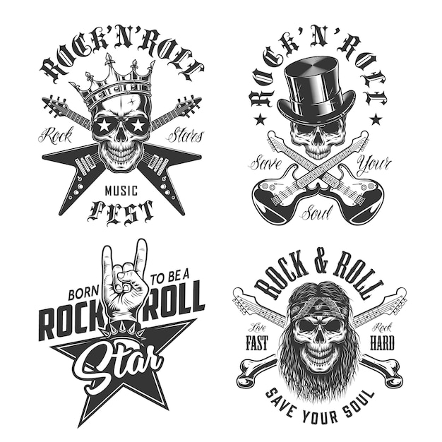 Conjunto de emblemas de rock and roll Vetor grátis