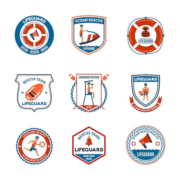 Conjunto de emblemas de salva-vidas Vetor grátis