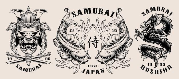 Conjunto de emblemas de samurai em preto e branco Vetor Premium
