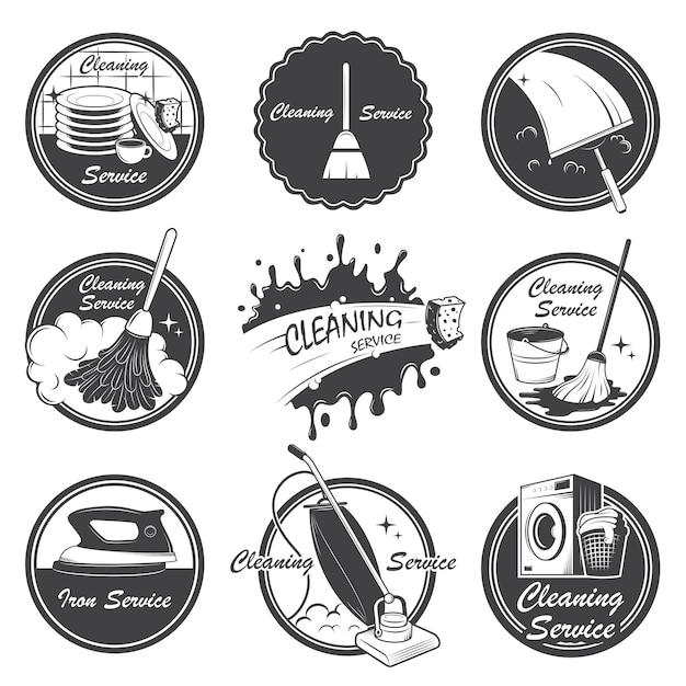 Conjunto de emblemas de serviço de limpeza, etiquetas e elementos desenhados. Vetor grátis