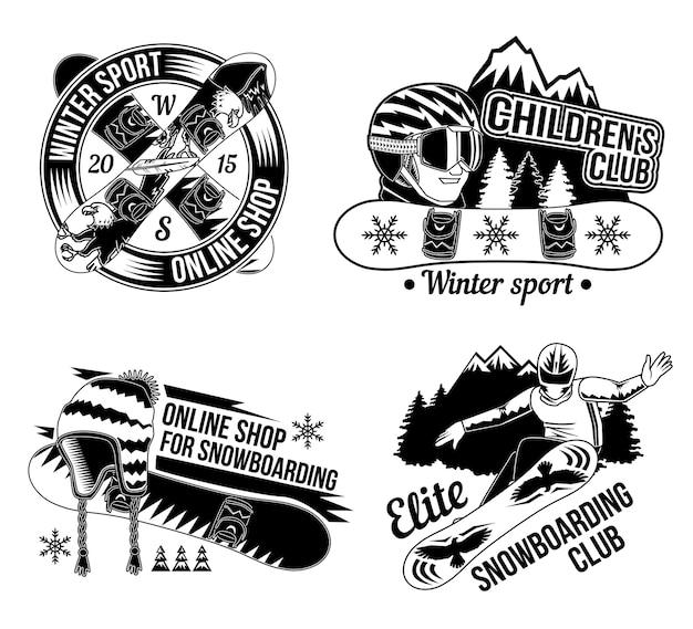 Conjunto de emblemas de snowboard, logotipos. isolado no branco Vetor grátis