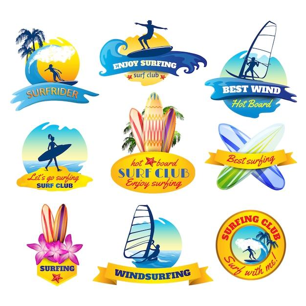 Conjunto de emblemas de surf Vetor grátis