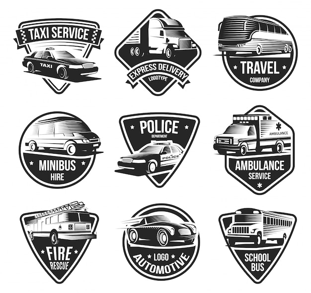 Conjunto de emblemas de transporte urbano Vetor grátis