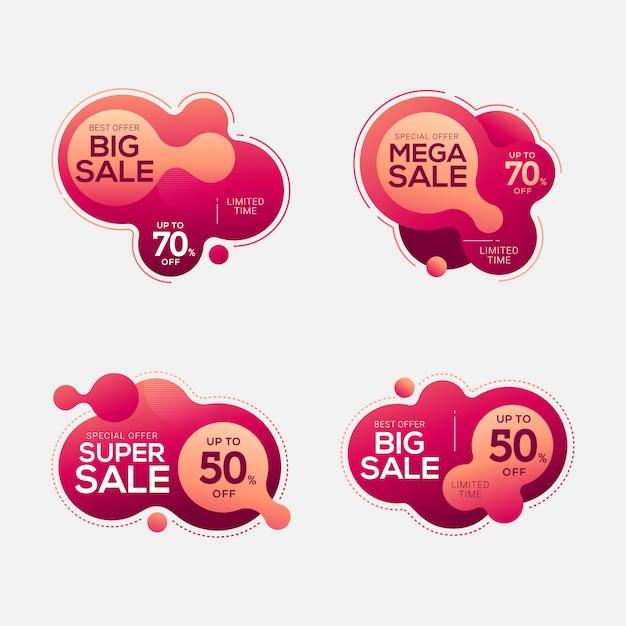 Conjunto de emblemas de venda com formas abstratas de cor líquida Vetor Premium