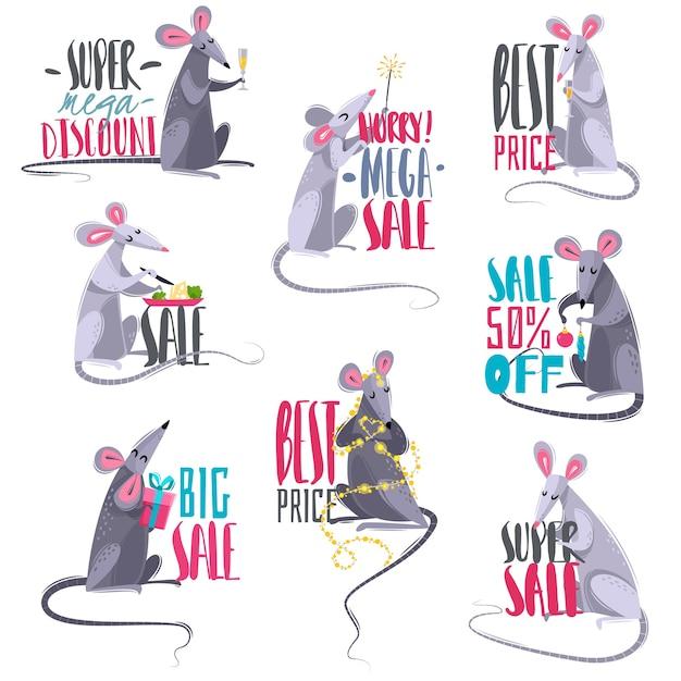 Conjunto de emblemas de venda de desenhos animados com ratos Vetor Premium