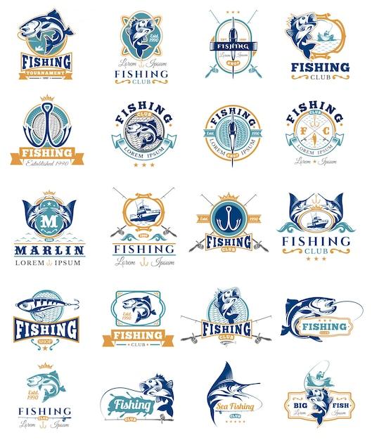 Conjunto de emblemas de vetores, adesivos para pegar peixe. Vetor grátis