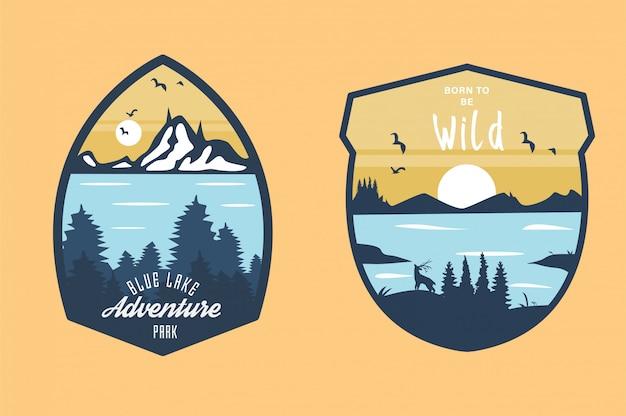 Conjunto de emblemas de viagem vintage mão desenhada Vetor Premium