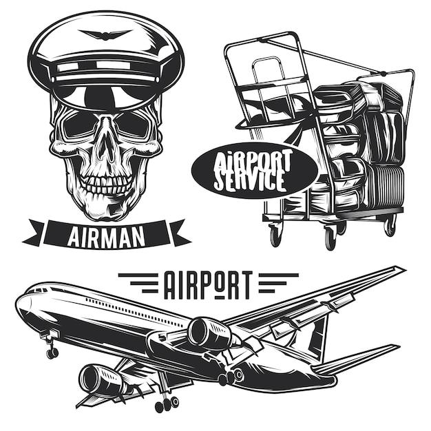 Conjunto de emblemas de viagens aéreas, etiquetas, emblemas, logotipos. isolado no branco Vetor Premium