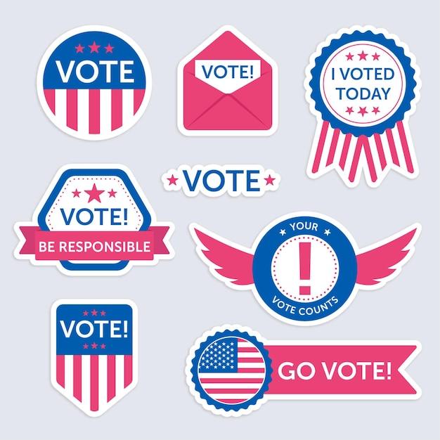 Conjunto de emblemas de votação e adesivos Vetor Premium