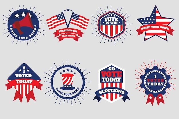 Conjunto de emblemas de votação e adesivos Vetor grátis