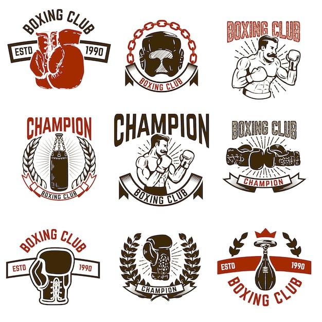 Conjunto de emblemas do clube de boxe. luvas de boxe. elementos para o logotipo, etiqueta, emblema, sinal. ilustração Vetor Premium